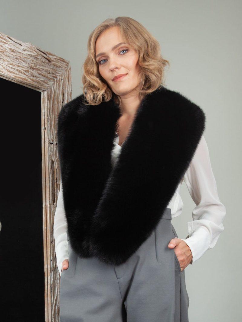 black fox fur long collar