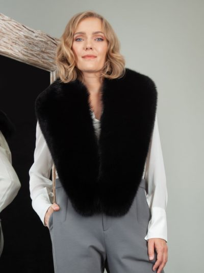 black fox fur long collar