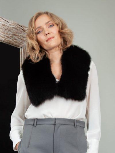 black fox fur small collar scarf