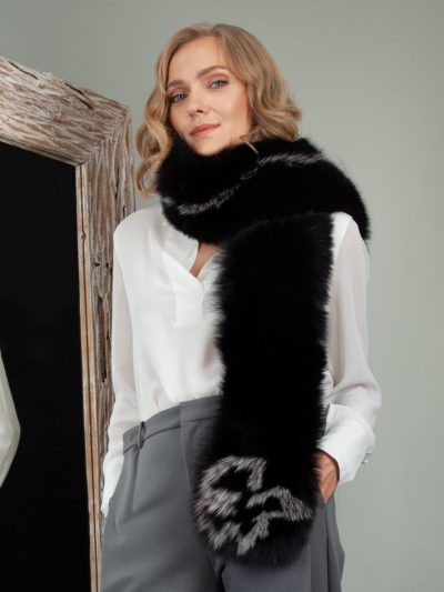 long black fox fur wide scarf collar wrap