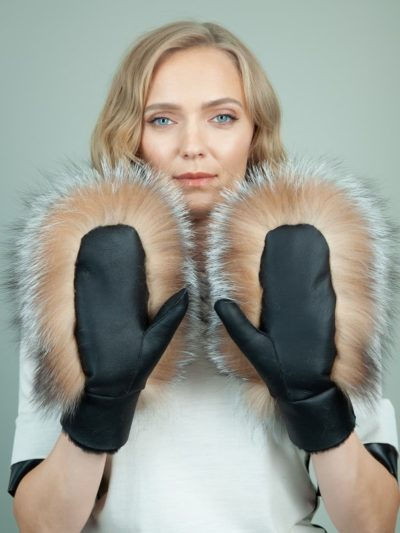 black merino sheepskin brown fox fur mittens for women