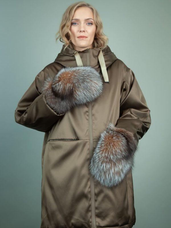 black merino sheepskin brown fox fur mittens for women