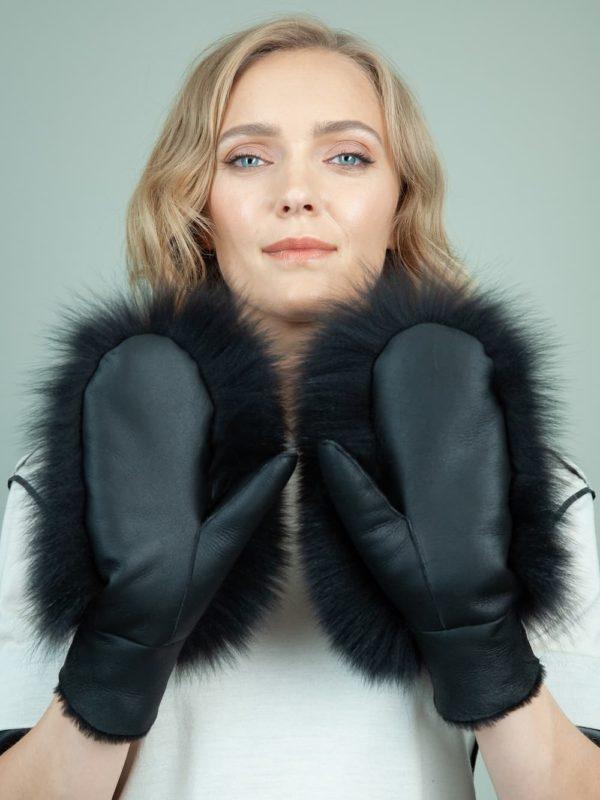 black merino sheepskin fox fur mittens for women