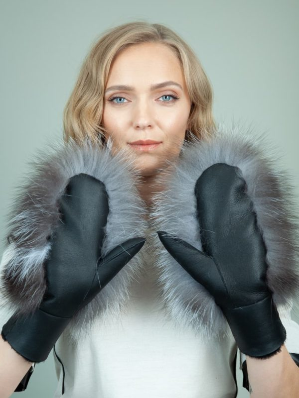 black merino sheepskin silver fox fur mittens for women