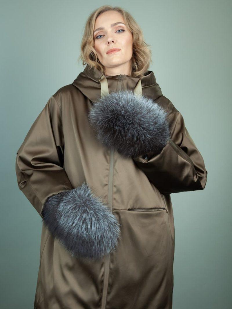 black merino sheepskin silver fox fur mittens for women