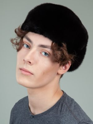 black mink fur polo beret men