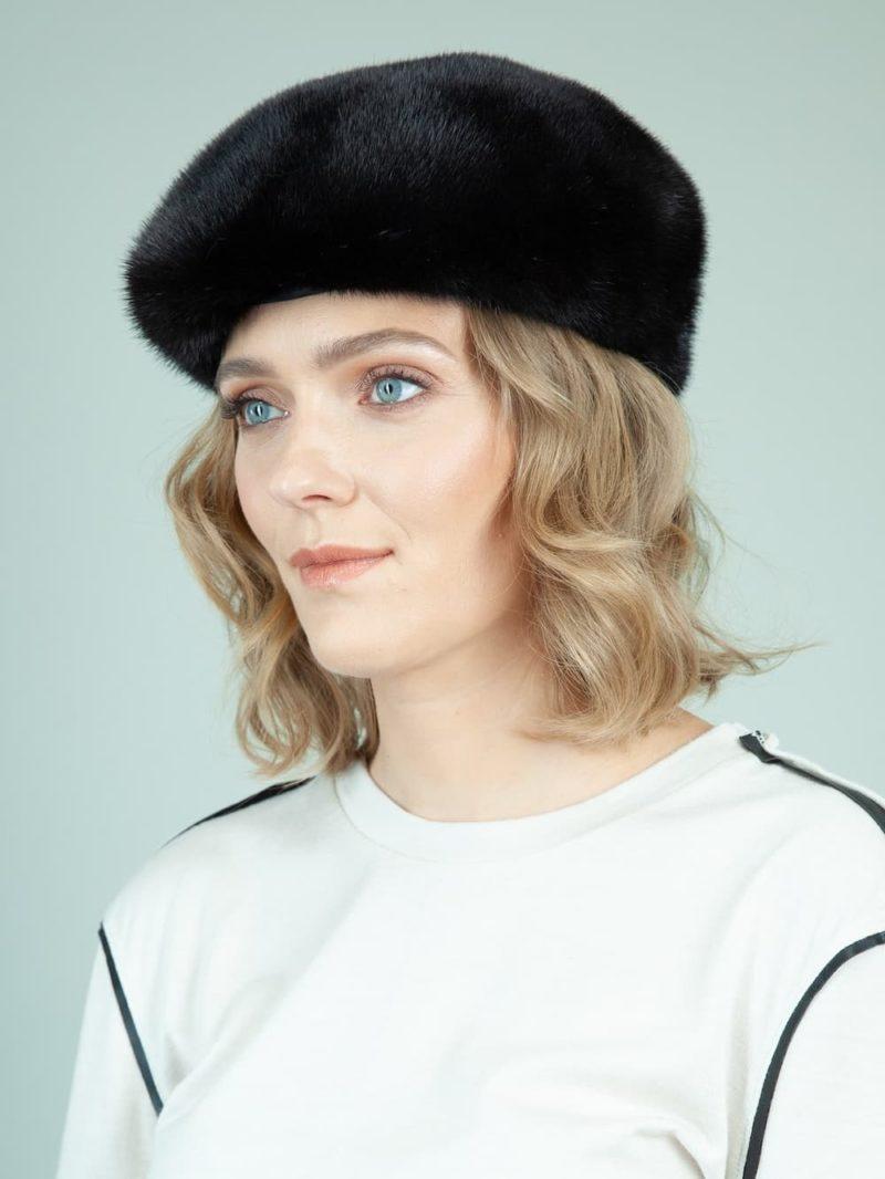 black mink fur polo beret women