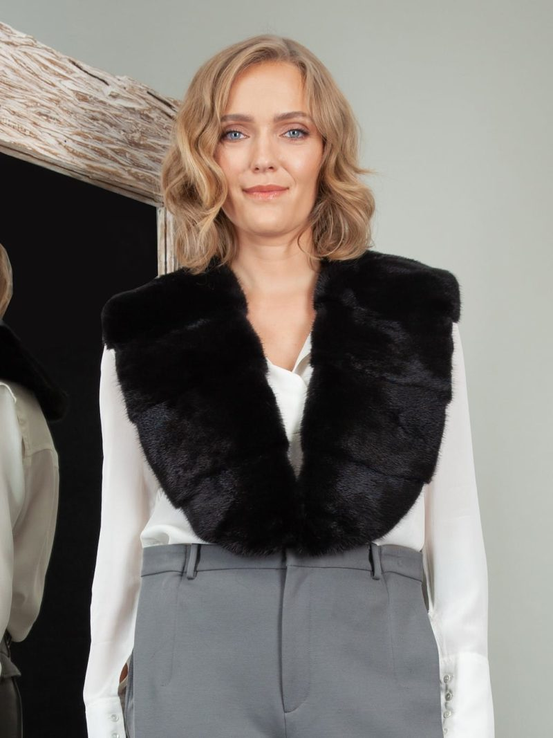 black mink fur collar