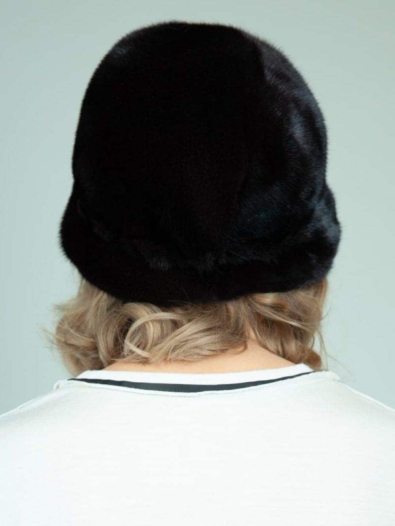 black mink fur bucket hat