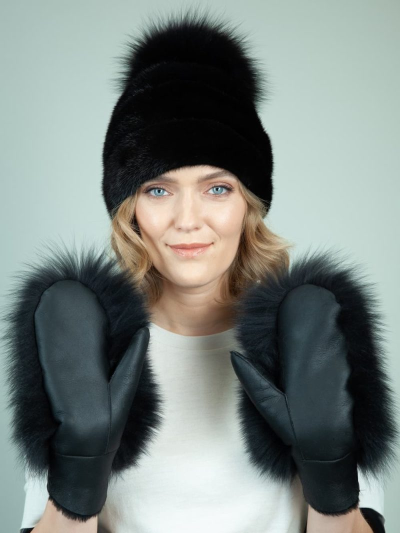 black mink fur hat merino sheepskin gloves set