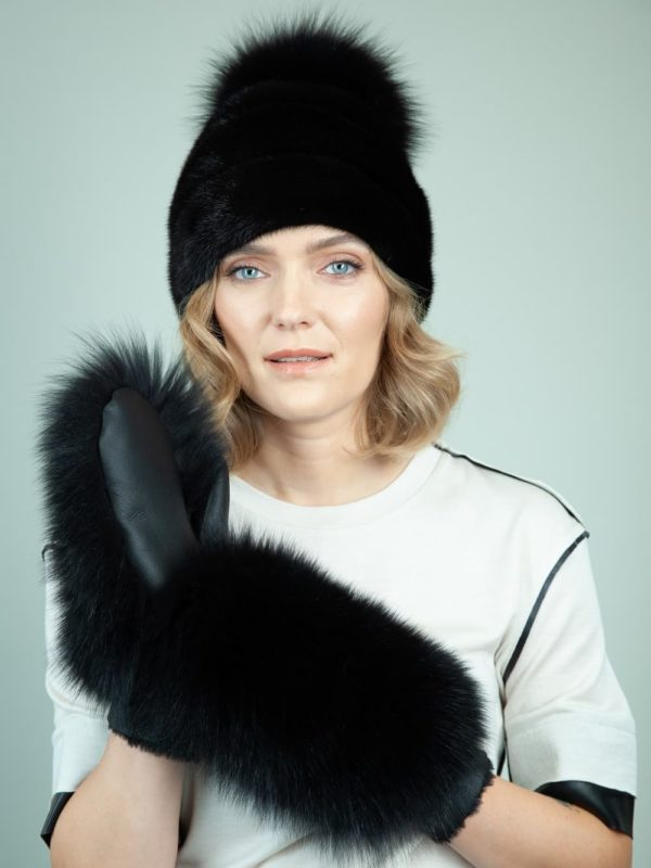 black mink fur hat merino sheepskin gloves set