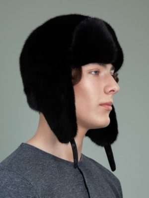 black mink fur trapper hat with ear flaps for men & women