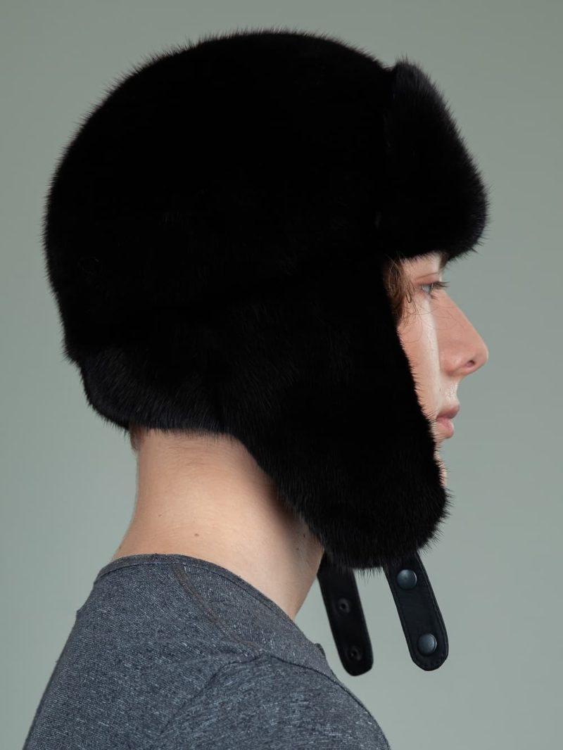 black mink fur trapper hat with ear flaps for men & women