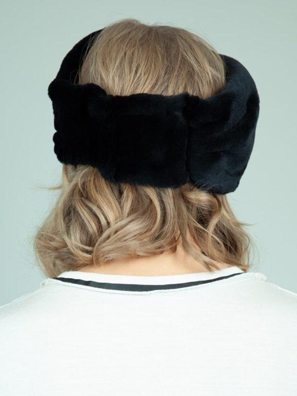 black rex rabbit fur headband head wrap for women