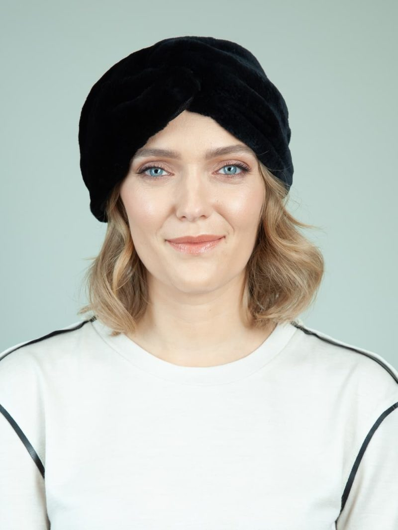 black rex rabbit fur headband head wrap for women