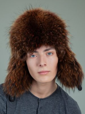 black sheepskin brown fox fur hat with ear flaps for men & women