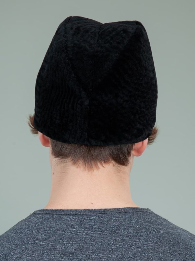 black mouton sheepskin cossack fur hat for men