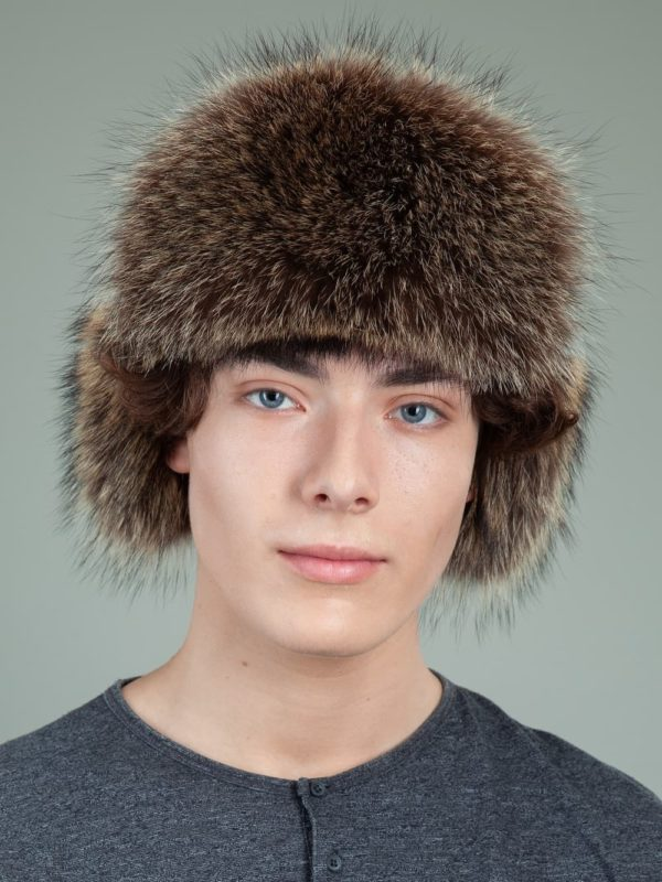 black sheepskin raccoon fur hat with ear flaps for men & women