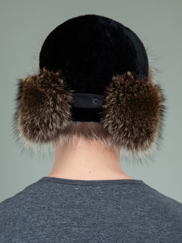 black sheepskin raccoon fur trapper hat with ear flaps for men & women