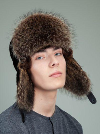 black sheepskin raccoon fur trapper hat with ear flaps for men & women