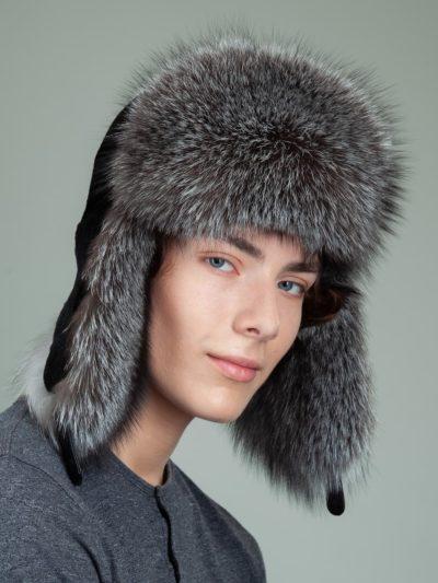 black sheepskin silver fox fur hat with ear flaps for men & women