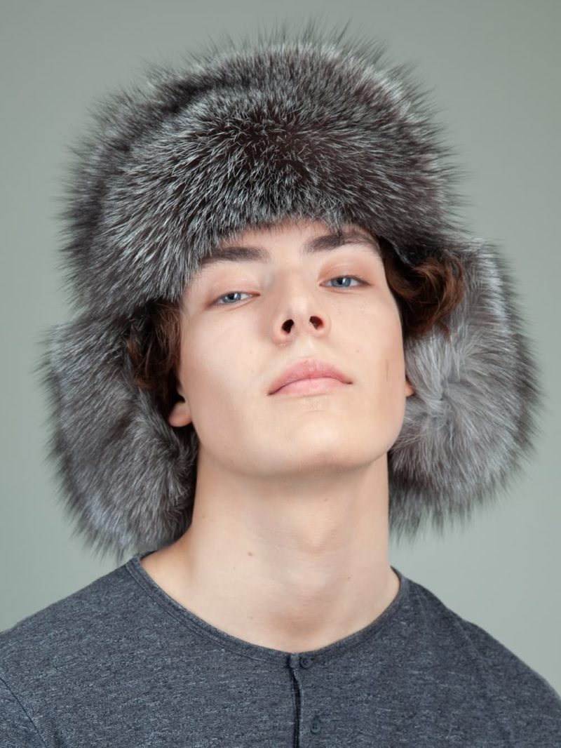 black sheepskin silver fox fur hat with ear flaps for men & women
