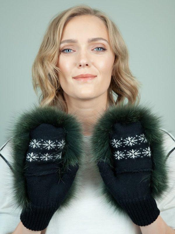 black wool mittens green fox fur mittens for women
