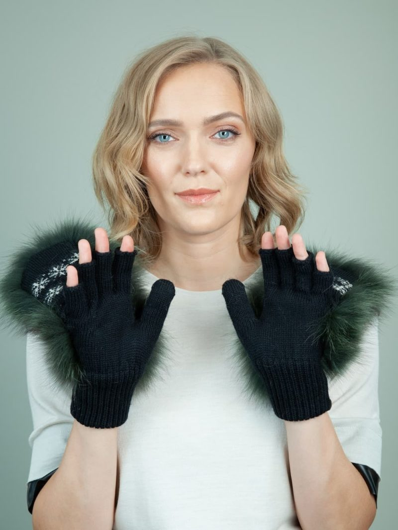 black wool mittens green fox fur mittens for women