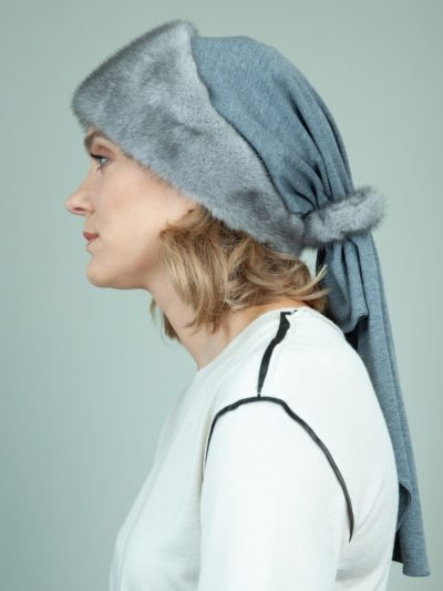blue iris cashmere fur hat