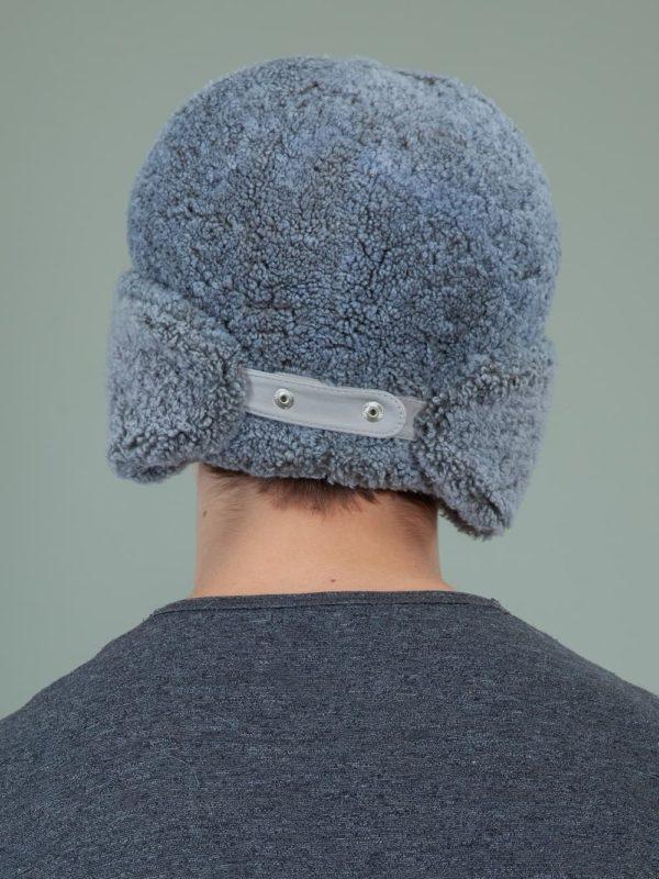 blue sheepskin trapper fur hat with ear flaps men