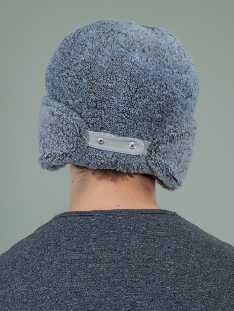blue sheepskin trapper fur hat with ear flaps men