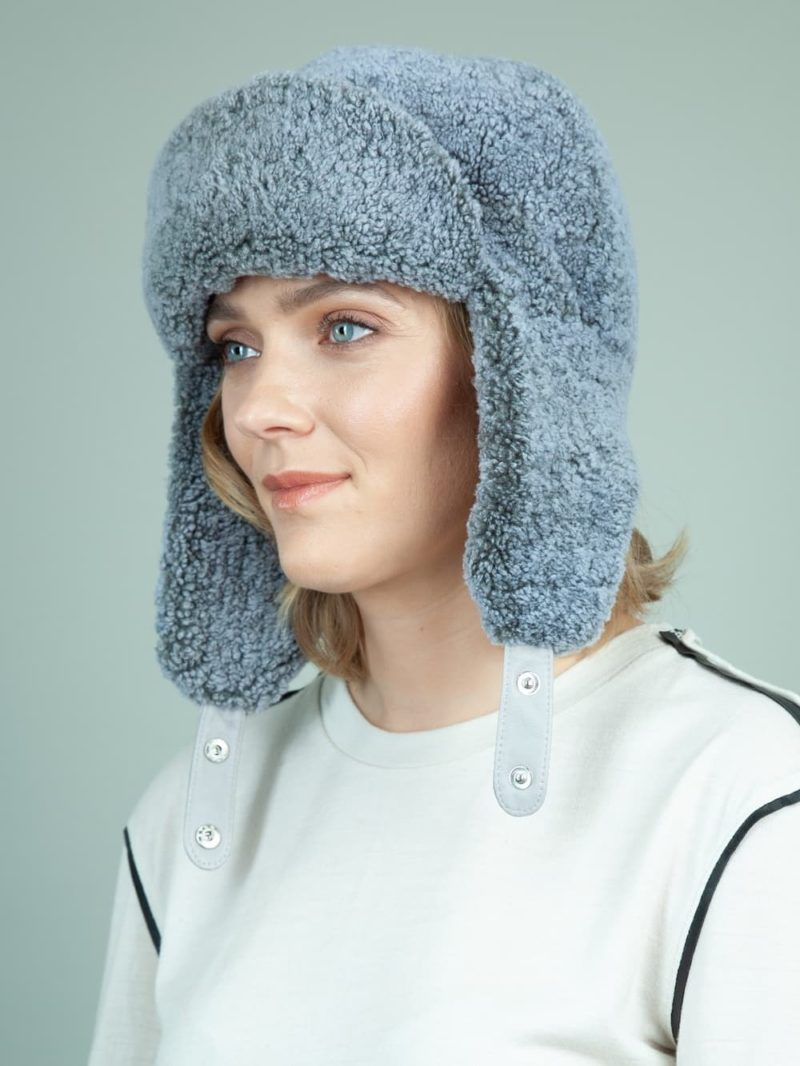 blue sheepskin trapper fur hat with ear flaps for women