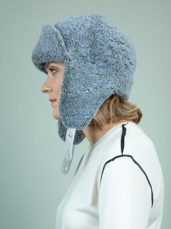 blue sheepskin trapper fur hat with ear flaps for women