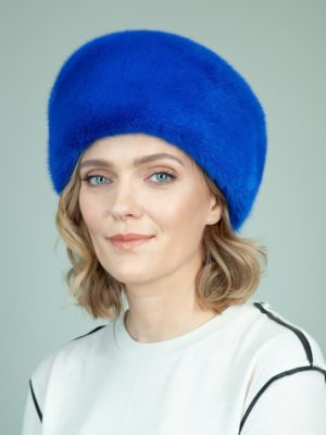 solid blue mink fur hat for women