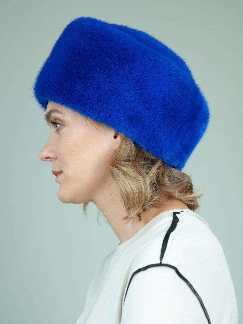 solid blue mink fur hat for women