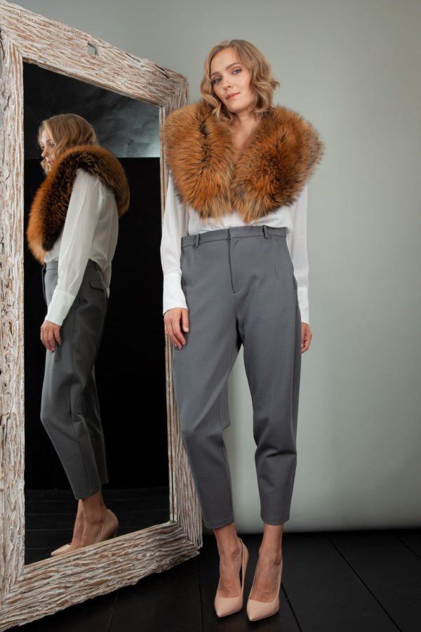 bronze fox fur wide collar