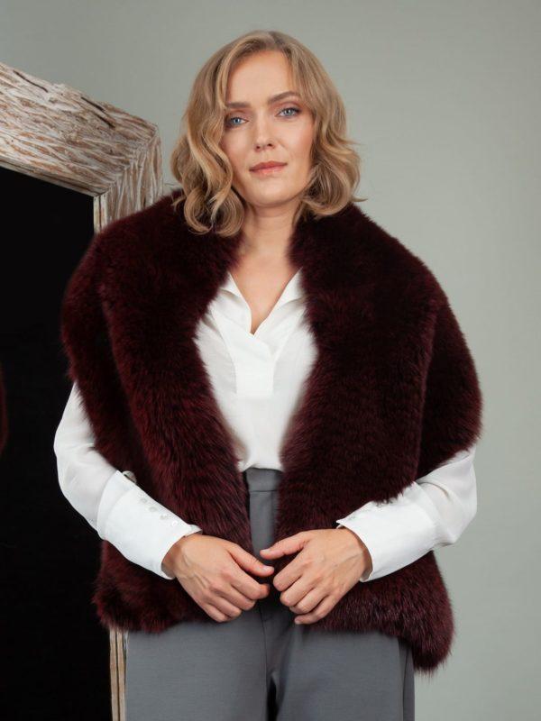 burgundy bordo red fox fur wide boa shoulder wrap