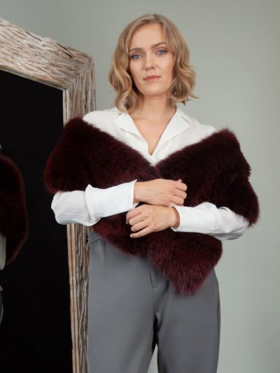 burgundy bordo red fox fur wide boa shoulder wrap