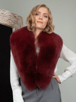 burgundy bordo red fox fur wide collar