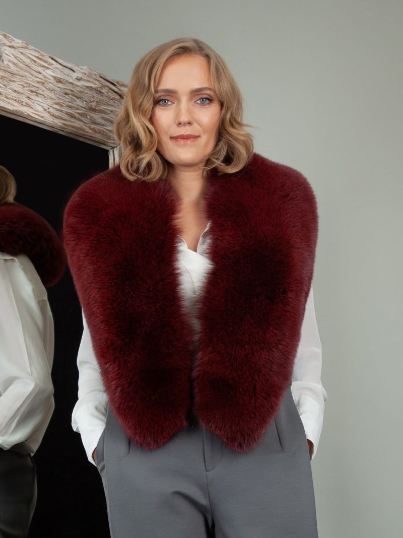 burgundy bordo red fox fur wide collar