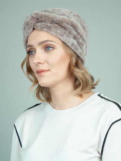 classic beige sheepskin fur hat for women