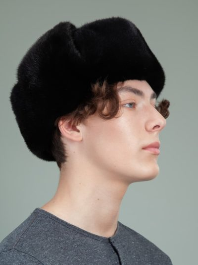 classic black mink fur russian ushanka hat with ear flaps for men