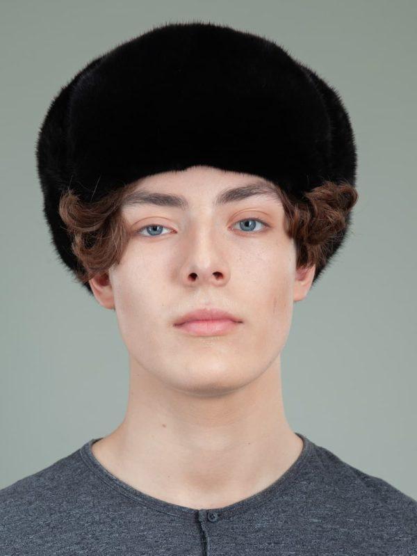 classic black mink fur russian ushanka hat with ear flaps for men