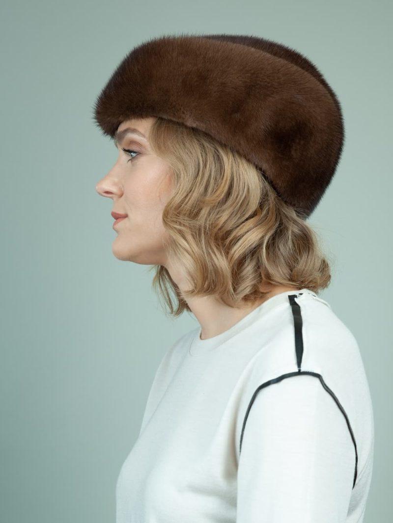 classic natural mink fur hat for ladies