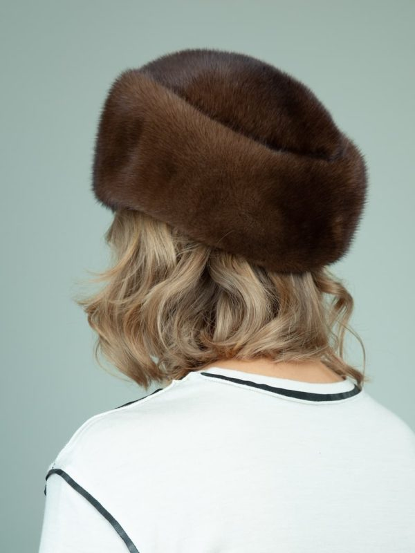 classic natural mink fur hat for ladies
