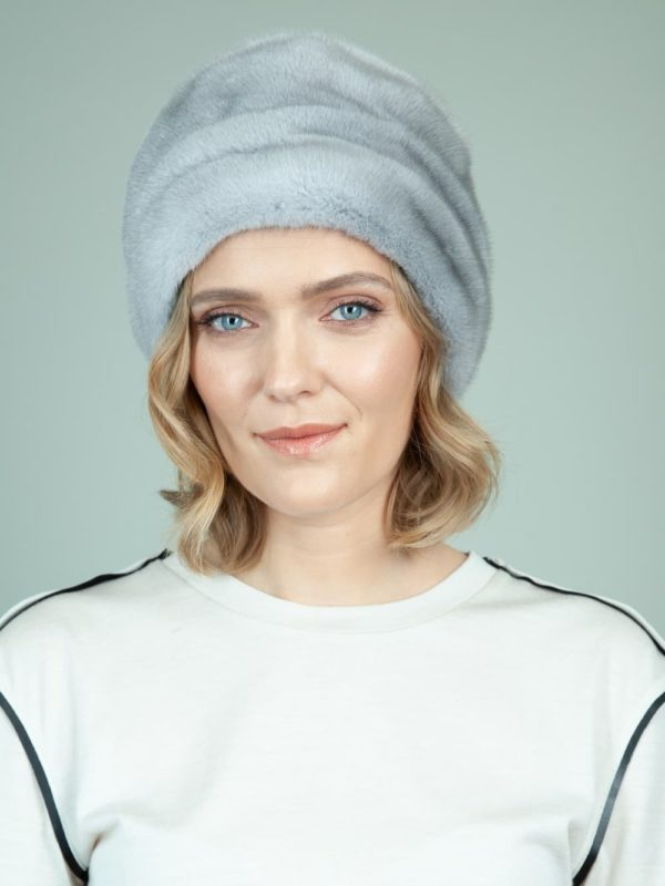 classic natural sapphire mink fur hat with flat top for women