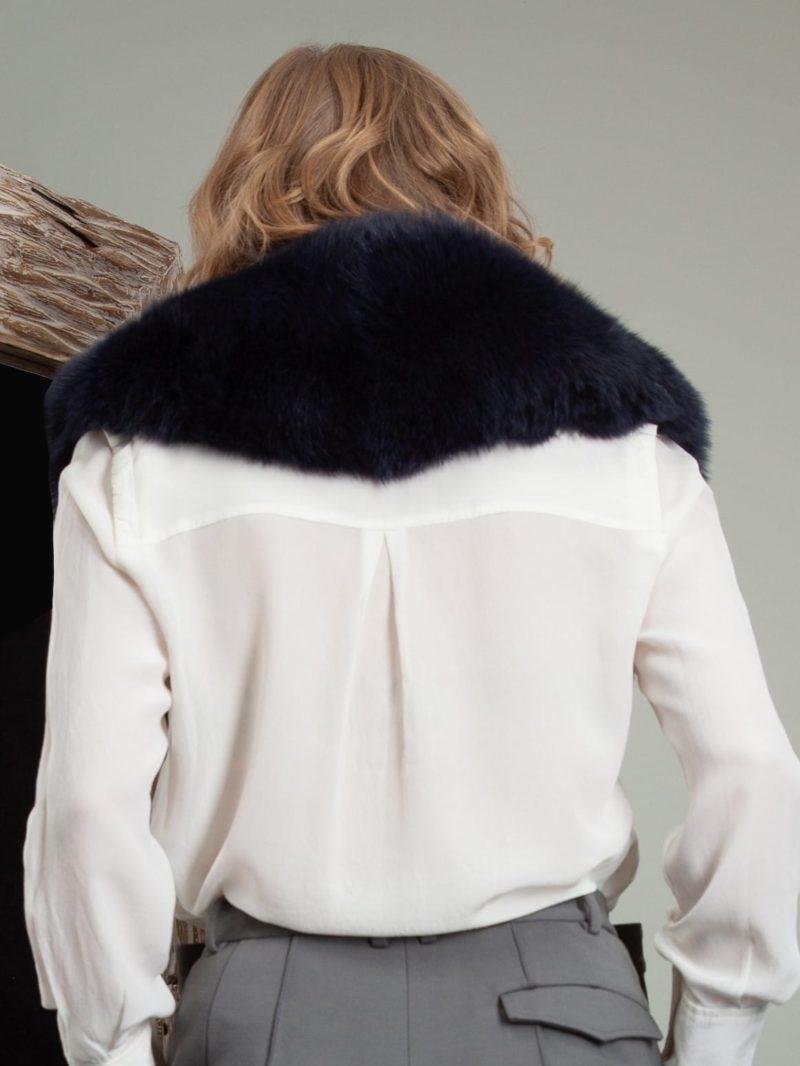 dark deep blue fox fur wide collar