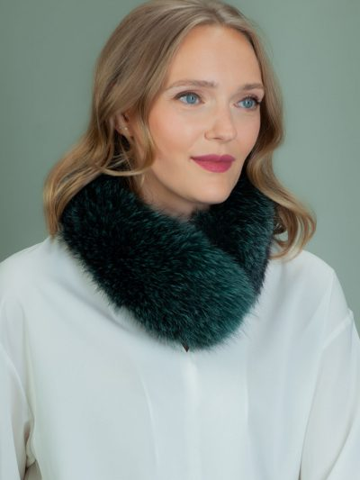 dark green fox fur scarf