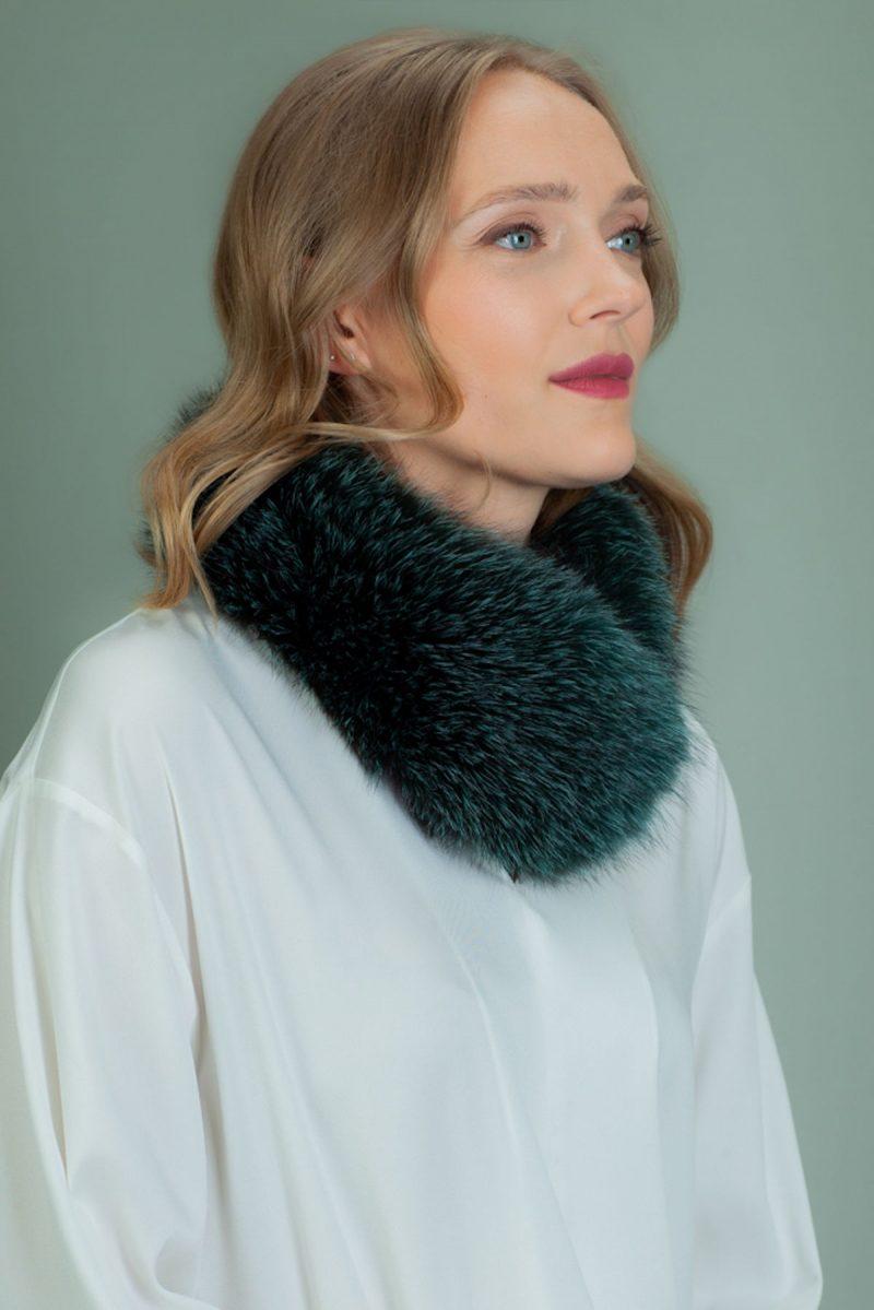 dark green fox fur scarf