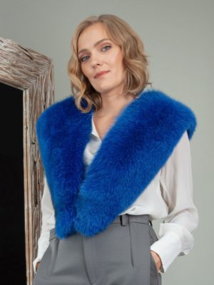 deep blue fox fur collar shoulder wrap